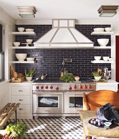 Kitchen With A Wolf Range, A Custom Hood, Black Subway Tile Backsplash,  White