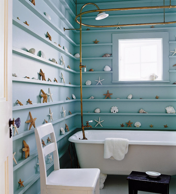 Bathroom in a Malibu home by Kerry Joyce with shallow shelving to display starfish and shells