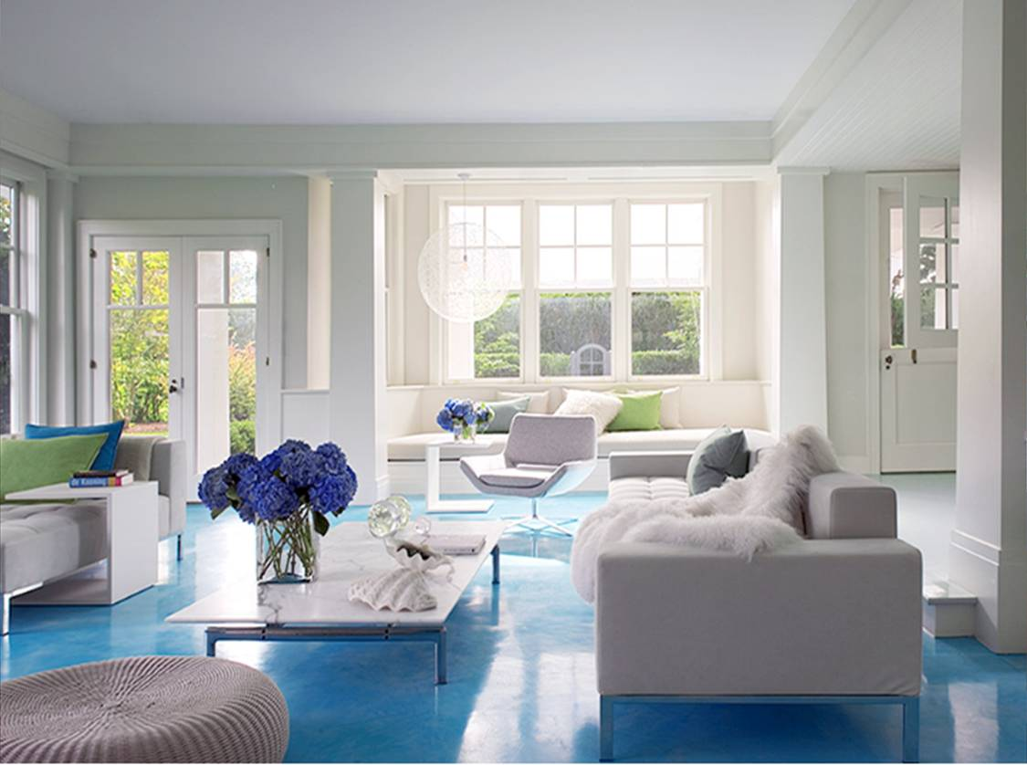 DESIGN IDEA: WHITE WALLS, BLUE FLOOR - LIVING ROOM COLOR! | COCOCOZY