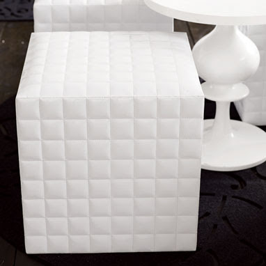 White patent leather stool from Brocade Home