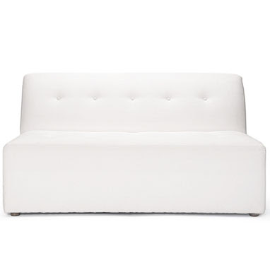 White tufted love seat from Brocade Home