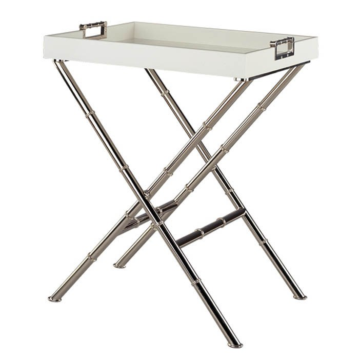 Tray Table With X Base And Polished Nickel Bamboo Style Legs From Plantation