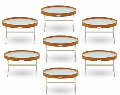 Seven round coffee tables with beech tops with laminate removable tray, steel metal base from Conran Shop
