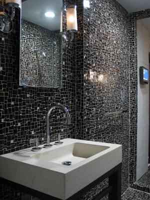 Modern bathroom with black Erin Adams mosaic tile walls