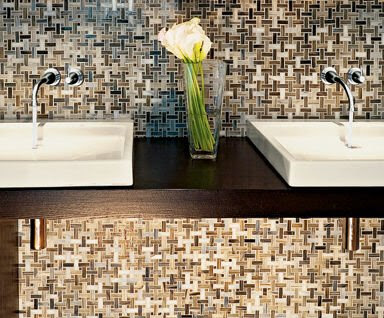Erin Adams mosaic tile in taupe and brown in a modern bath with a simple sink console and top mounted sinks