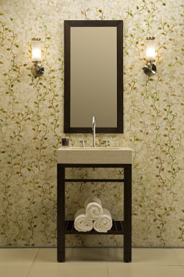 Bathroom with green vine inspired tile by Erin Adams and a dark walnut vanity and mirror