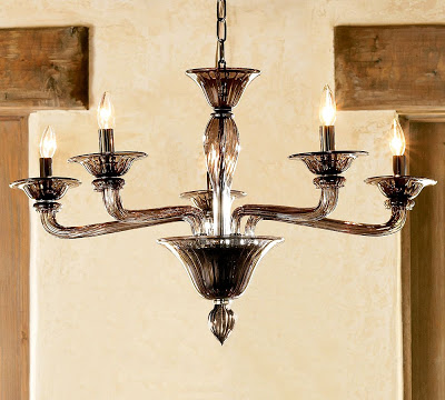 Five arm chandelier made of smoked glass from Pottery Barn