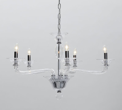 Five arm chandelier made of clear glass from Pottery Barn