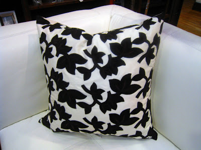 Brown and white floral pillow inspired by Madeline Weinrib
