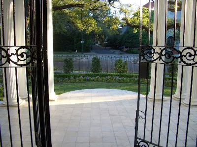 Metal front gate at the Wedding Cake House in New Orleans