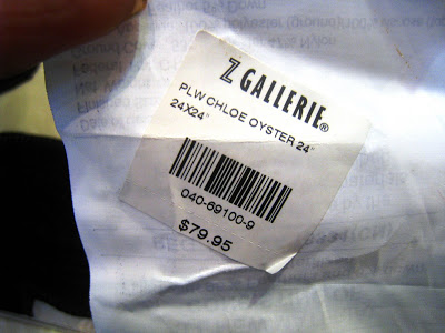 Price tag on a cream and chocolate velvet floral pillow from Z Gallerie