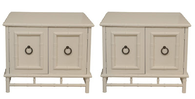 Two faux bamboo side tables with round loop pulls from Pieces
