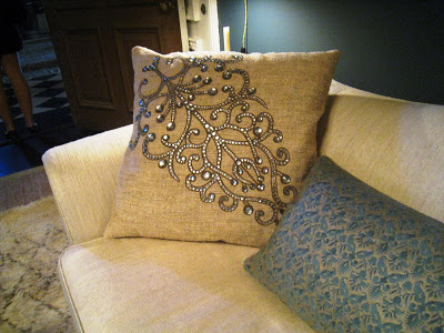 Detail of an accent pillow in the Salon D'Art at the Greystone Mansion was designed by Katie Leede-McGloin