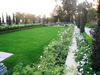 Manicured grass gardens on the grounds of the Greystone Mansion in Beverly Hills, California