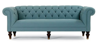 Blue tufted tight back sofa with curved rolled arms and back from Michelle Gold + Bob Williams
