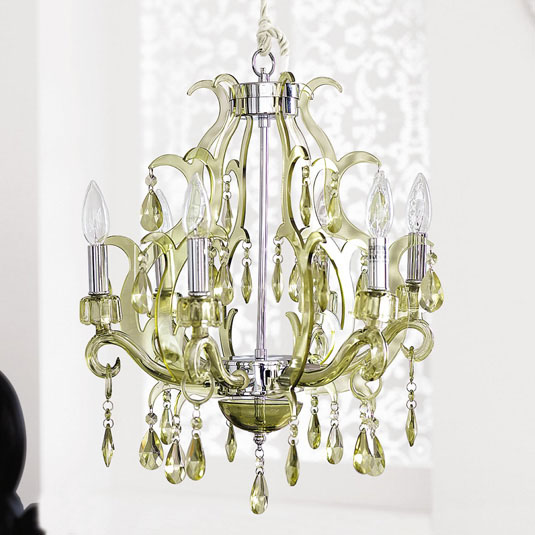 Design on sale daily green with envy over a little romantic green steel acrylic and glass chandelier from brocade home aloadofball Choice Image