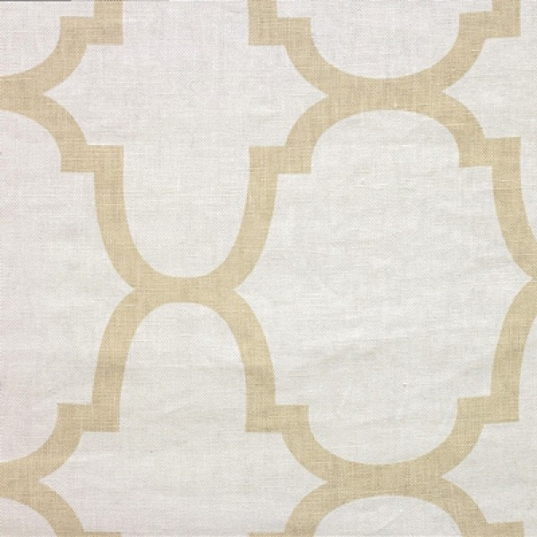 Linen with a cream and light tan in a Moorish pattern from Windsor Smith Home