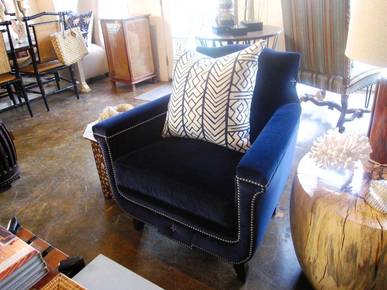 COCOCOZY FIND A LUXE BLUE VELVET CHAIR