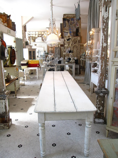 19th century vintage white washed 12' long farmhouse table