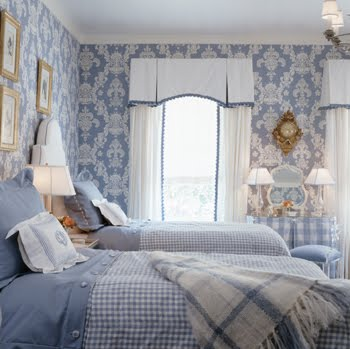 Blue bedroom by Kelley Proxmire with damask wallpaper, gingham bedding and vintage accessories