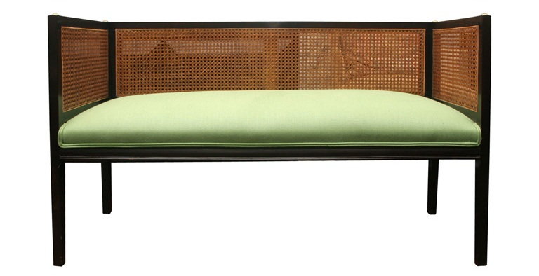 Vintage Dark Mahogany Caned Benches Upholstered in Green Linen from Steven Sclaroff
