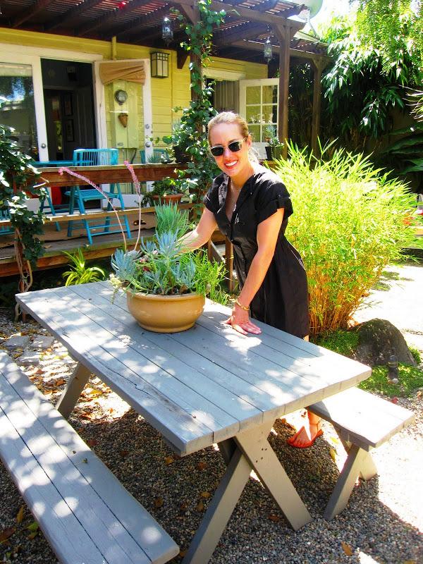 Charlotte Broussard in her designer garden in Venice Beach, CA