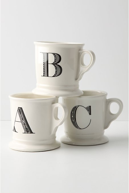 Monogrammed mugs from Anthropologie