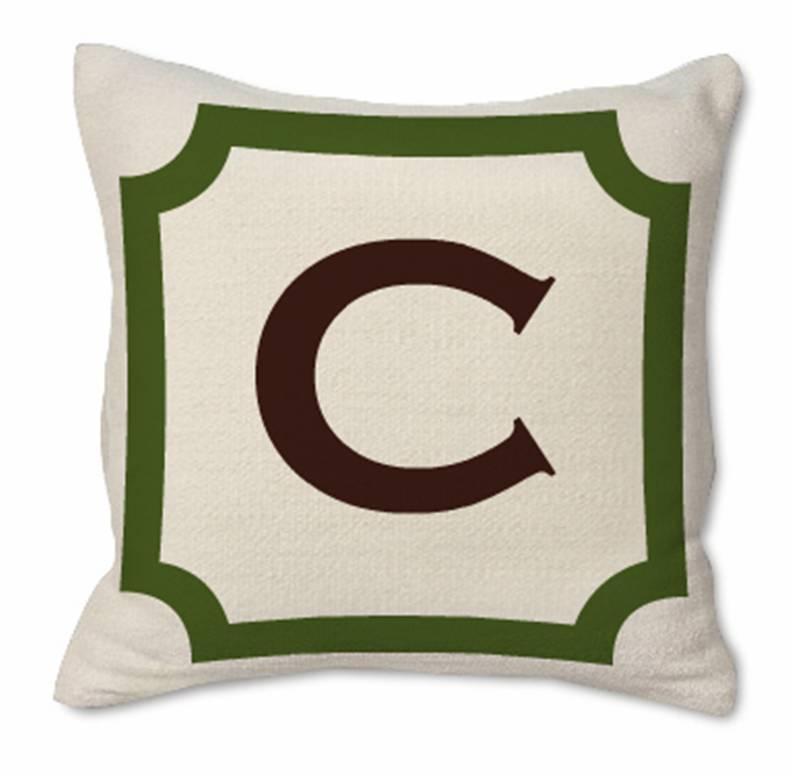 Custom monogrammed pillow from Jonathan Adler