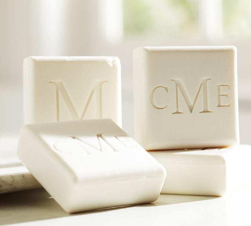 Custom monogrammed soap from Pottery Barn