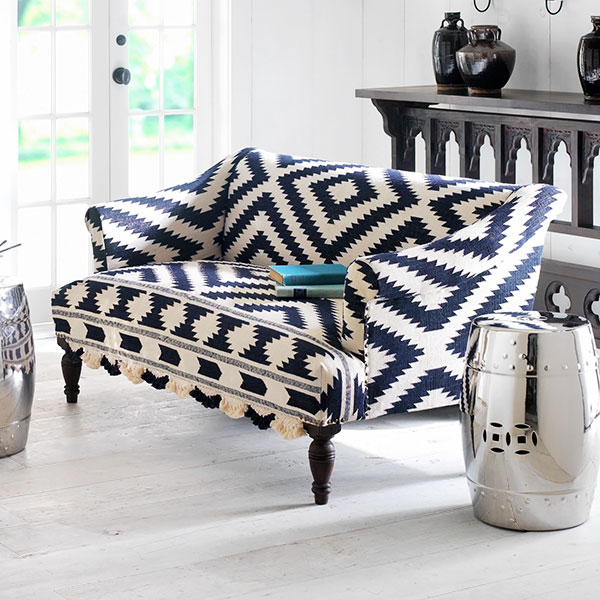 Navy And White Wooden Upholstered Sofa With Bridal Rug From Wisteria