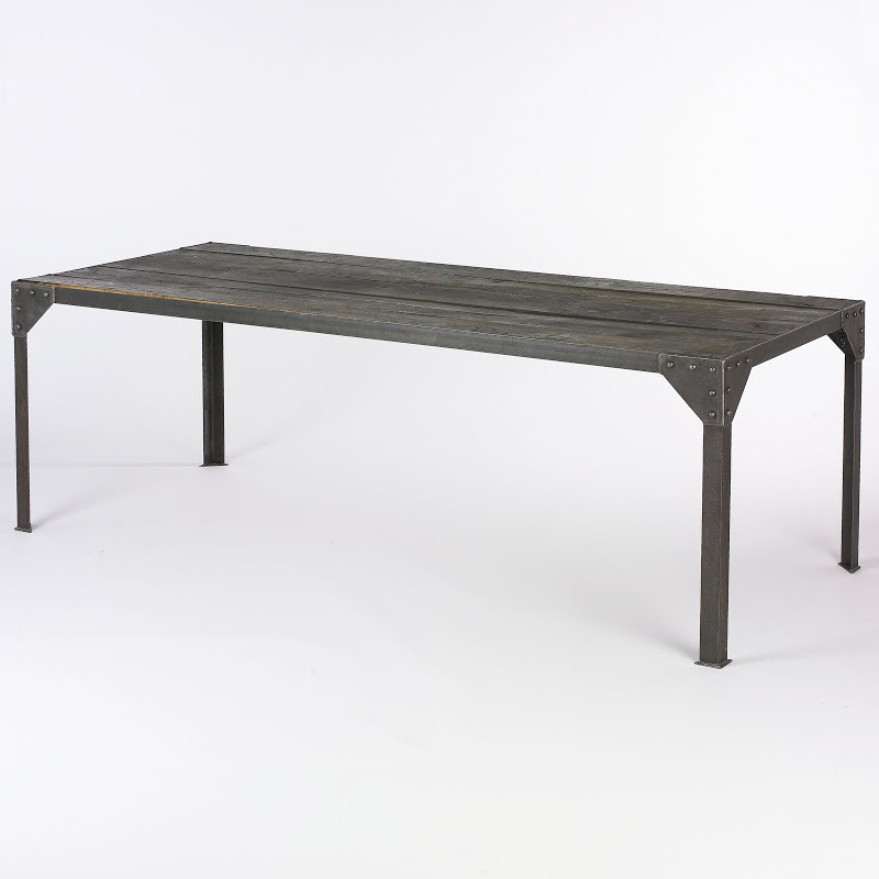 Dark wood table with grey color set in an iron frame from South of Market