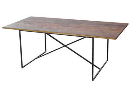 Reclaimed teak dining table with iron legs from Jayson Home & Garden