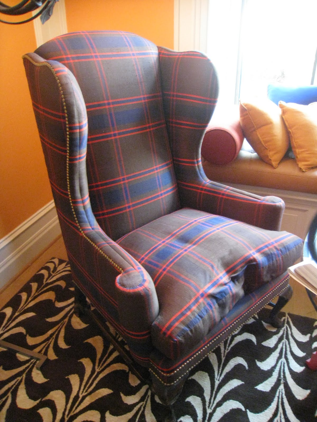 navy blue wingback chairs custom high chair covers piping and plaid! | cococozy