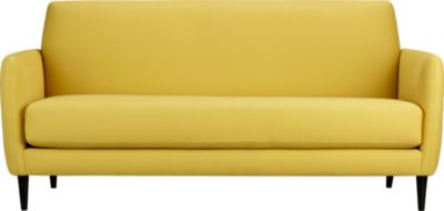 Yellow sofa from cb2 with tapered legs, tight back and single seat cushion