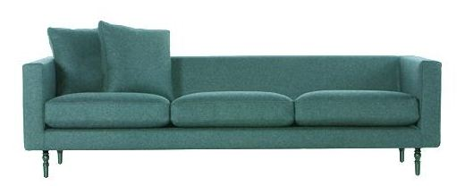 Teal sofa with teal exposed wood legs from Propeller