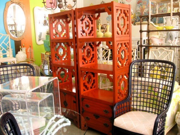 Two Red Fretwork Etageres by Thomasville