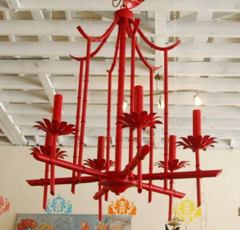 Red Pagoda Tole Chandelier