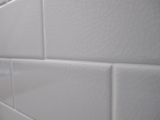 White subway tile with cracked finish