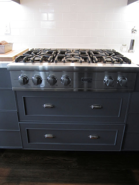 Close up of the Viking gas range and subway tile backsplash