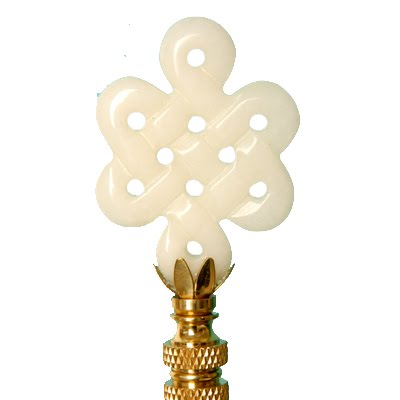 White knot style finial from Hillary Thomas Designs