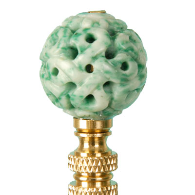 Green and white jade finial from Hillary Thomas Designs