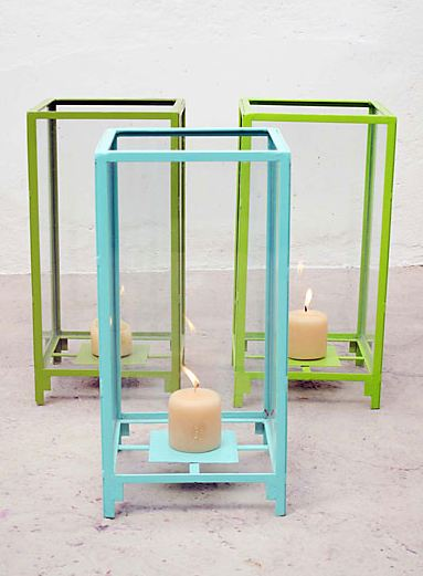 Painted metal box lanterns in green and blue