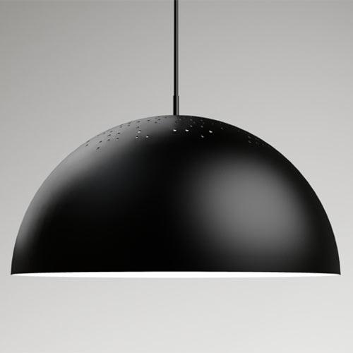 yLighting black aluminium pendant light with silver aluminum interior