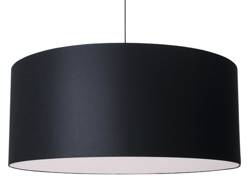 Black drum shaped pendant light from hive