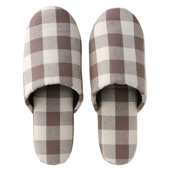 Brown and white checkered pattern slippers from Muji