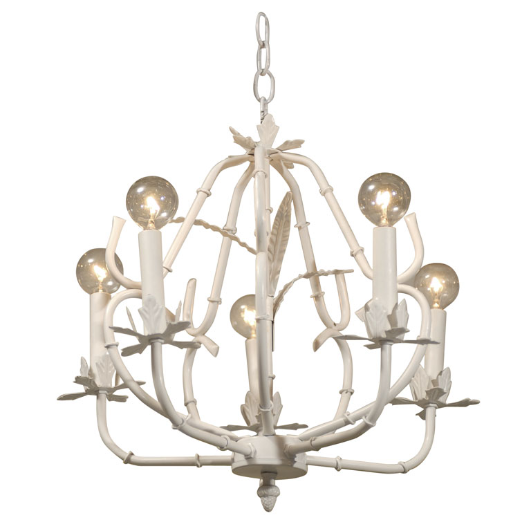 White bamboo chandelier from Pieces Inc.
