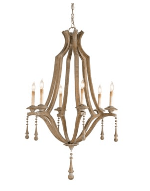 Hand crafted of wood with beaded drops chandelier from Ballard Design