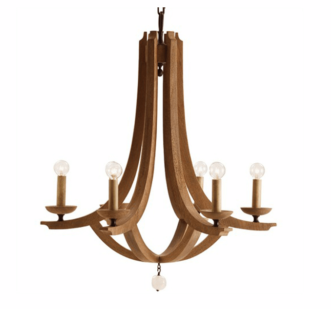 Rustic wood and crystal chandelier from Plantation Design