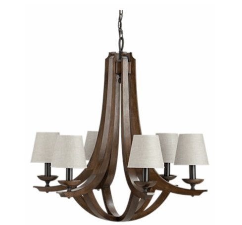 Six walnut-finished arms on a neoclassical inspired lighting fixture from Crate & Barrel