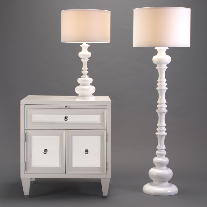 High gloss lacquered white turned floor lamp and matching table lamp from Z Gallerie